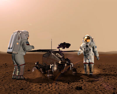 Artist's impression of humans on Mars