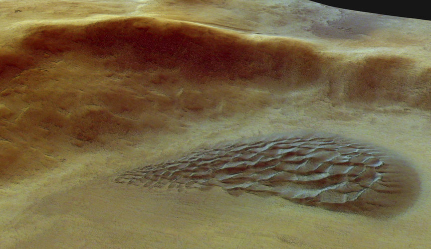 Close-up of the dune field