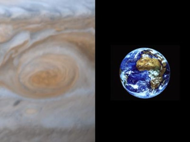 Red Spot compared in size to Earth