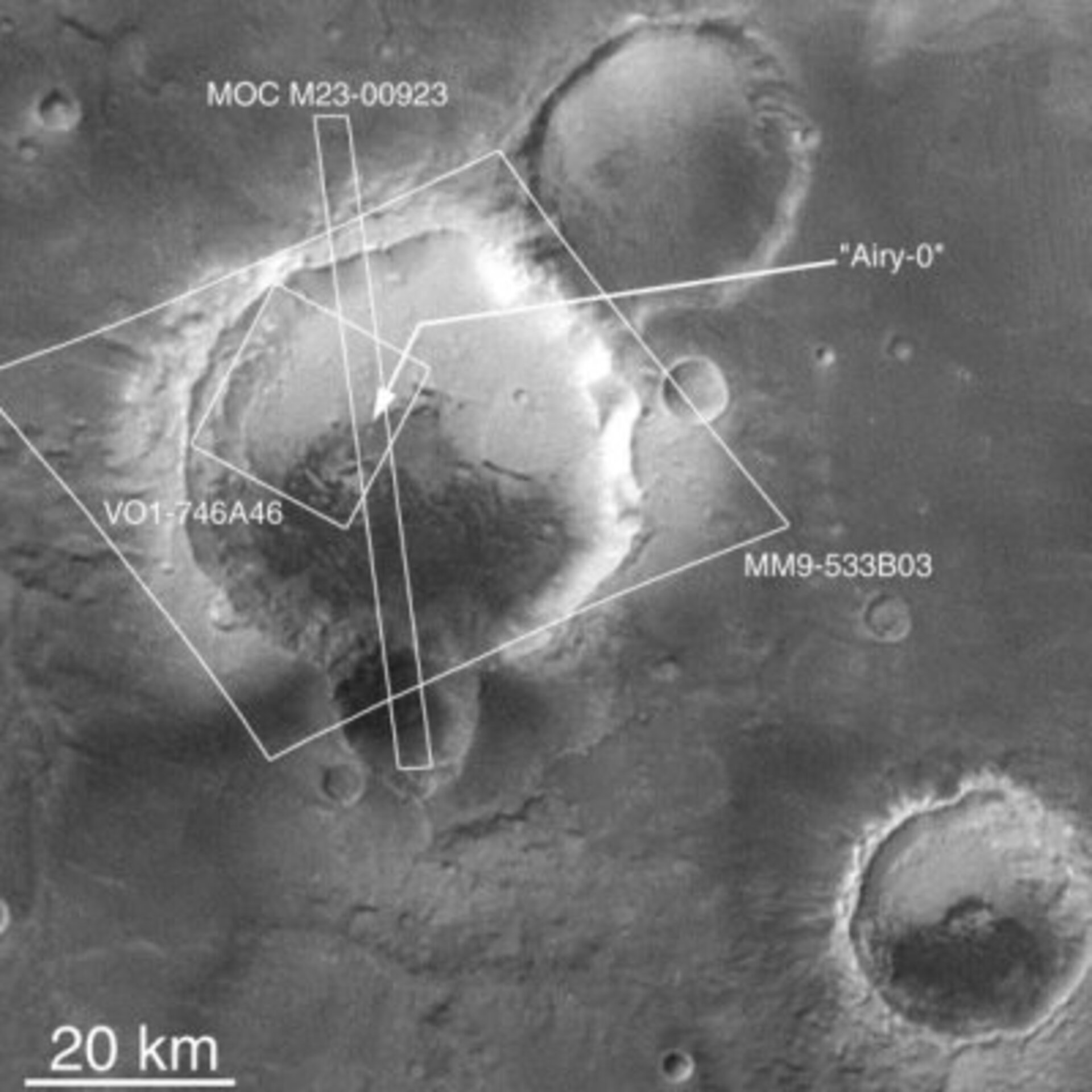 Location of Airy 0 crater on Mars
