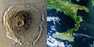 Olympus Mons compared in size to Italy