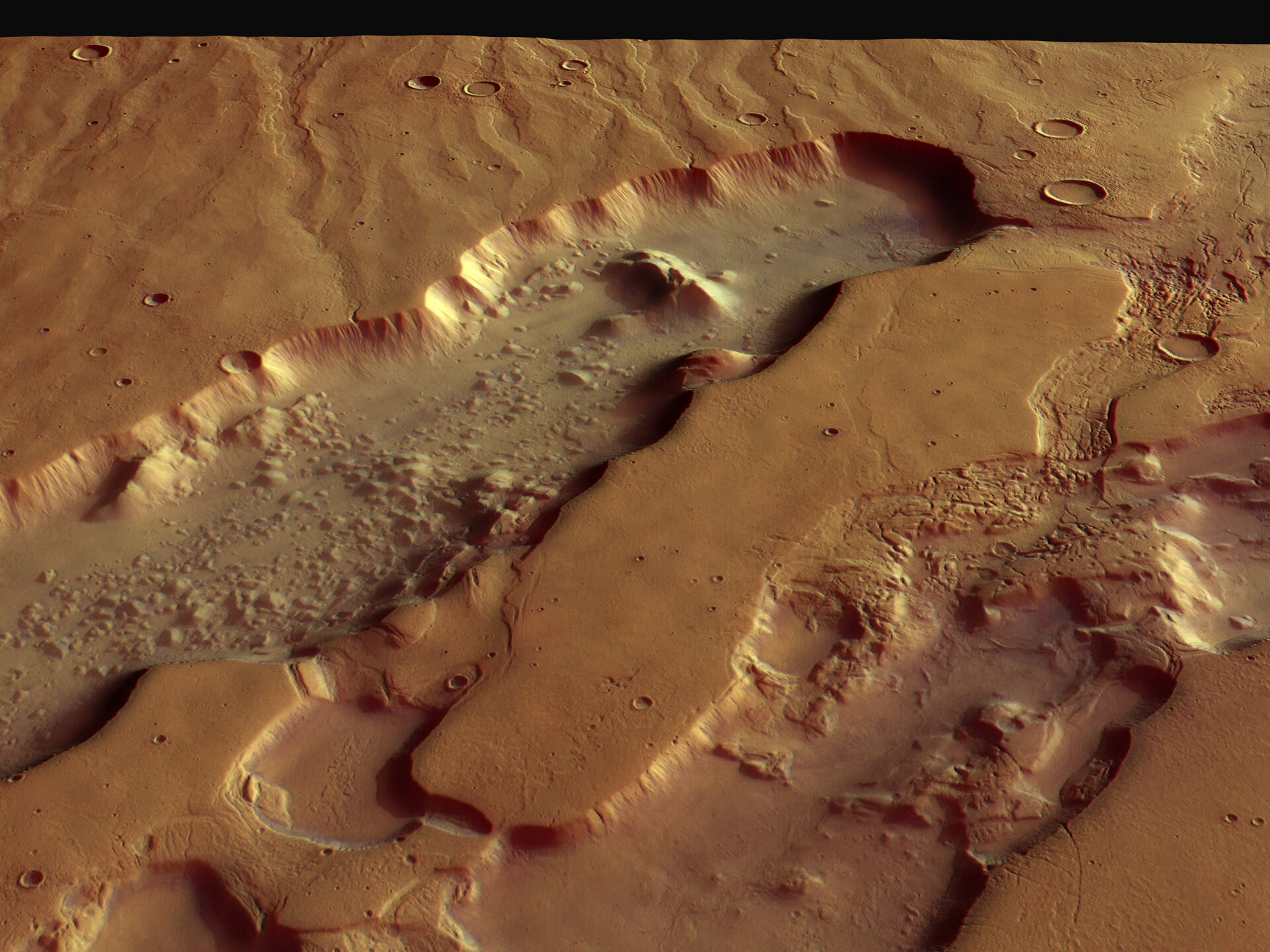 Perspective view of Dao and Niger Valles, looking north