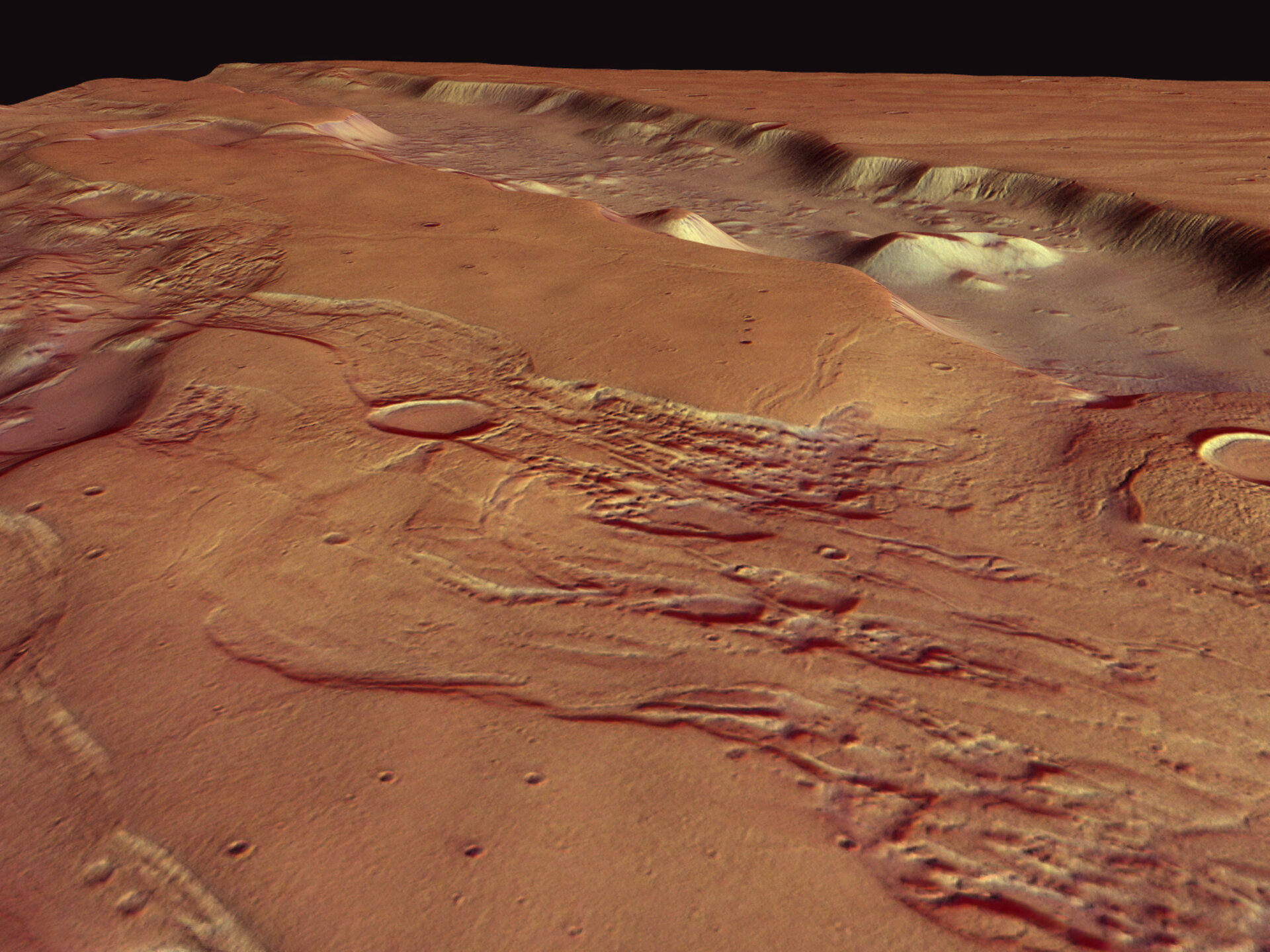 Perspective view of Dao and Niger Valles, looking south