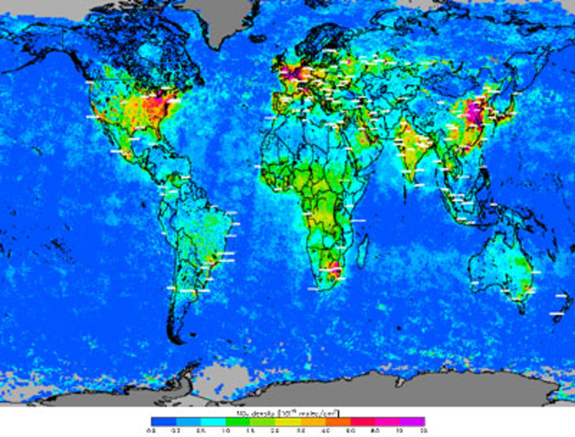 Air pollution measured by SCIAMACHY