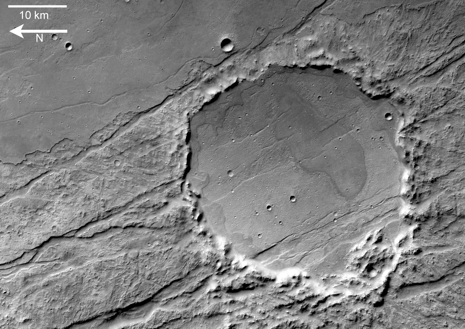 Claritas Fossae crater detailed view,  black and white