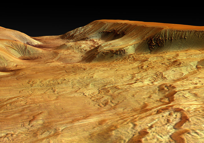 Close-up perspective view of Ophir Chasma, looking from east to west