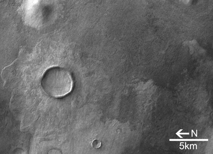 Close-up view of Promethei Terra craters