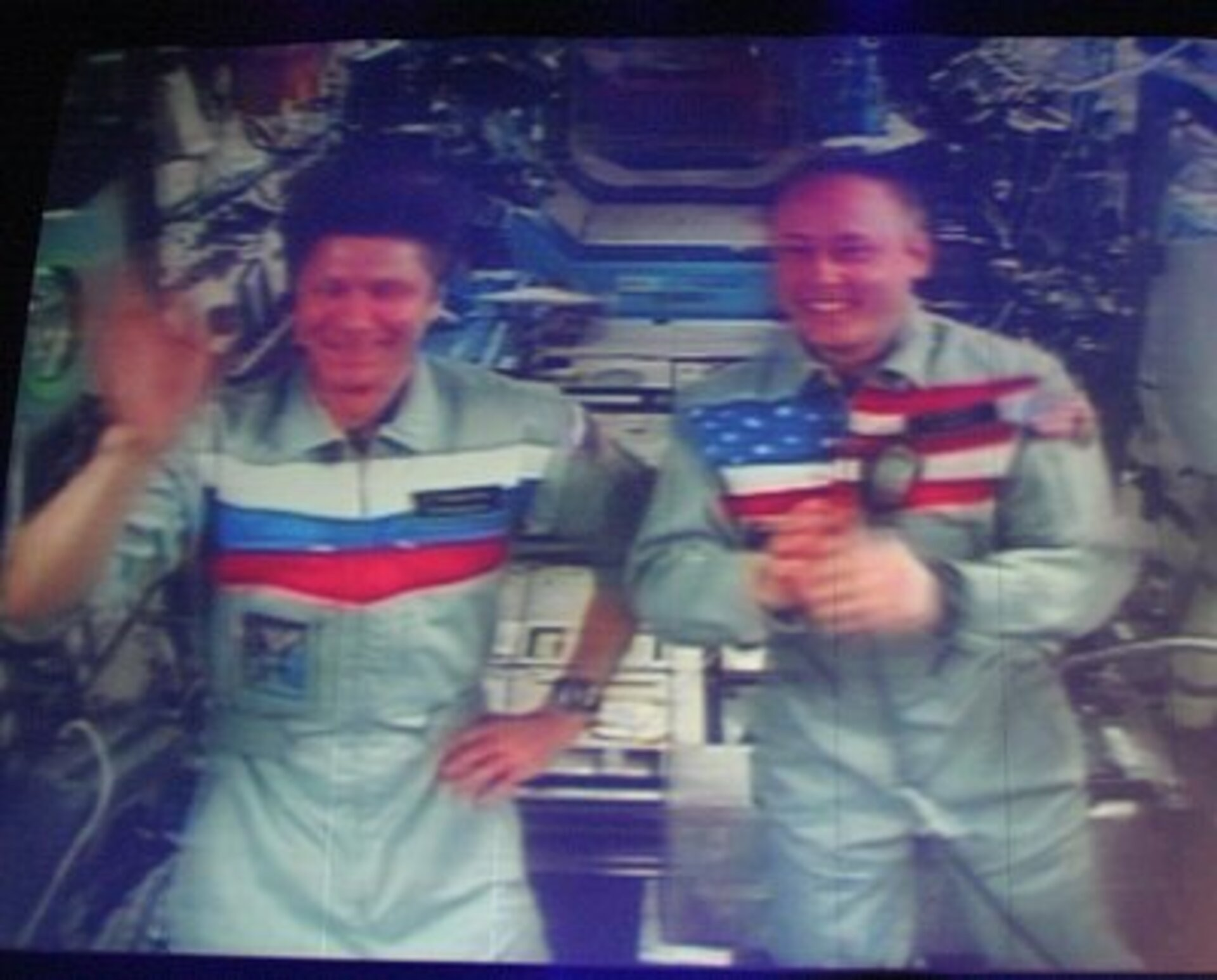 Expedition Nine joined the Cologne audience live from the ISS