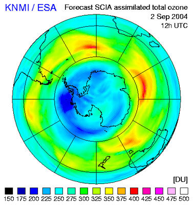 Ozone hole, as seen with Envisat