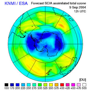 Ozone hole forecast from today to 9 September