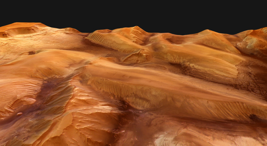 Perspective view of Ophir Chasma, looking west to east