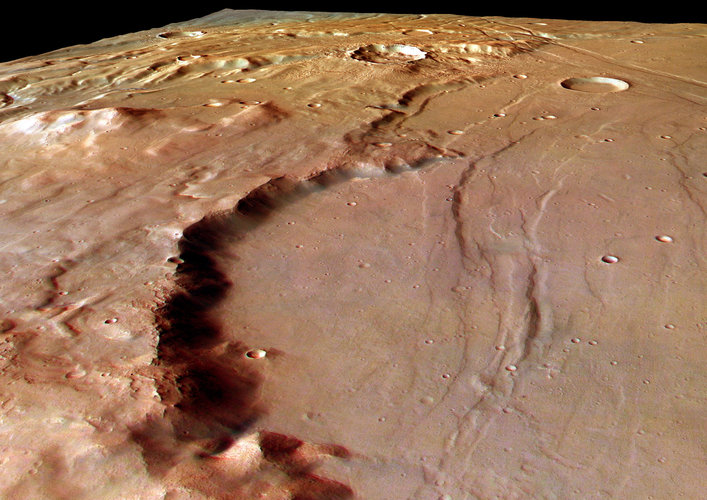 Perspective view of Solis Planum, looking south-east