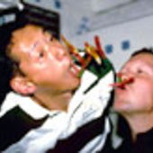 Astronauts Gorie and Mohri