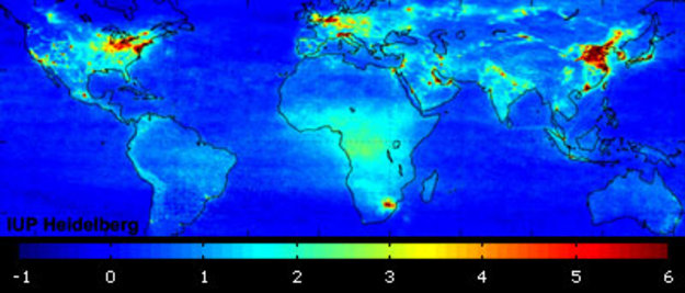 global air pollution map produced by envisat u0026 39 s sciamachy