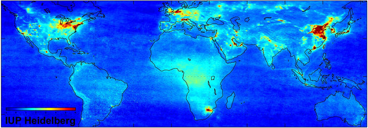 Global nitrogen dioxide pollution map - Jan 2003 to June 2004