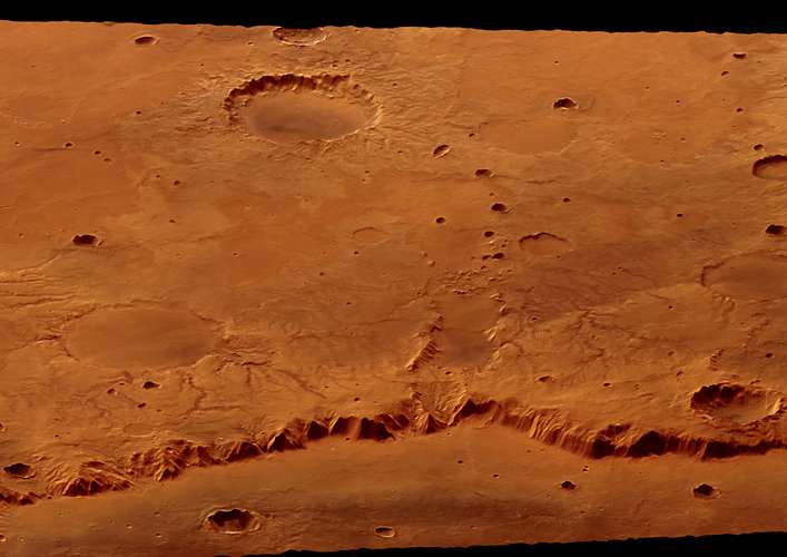 Rim of Crater Huygens, perspective view