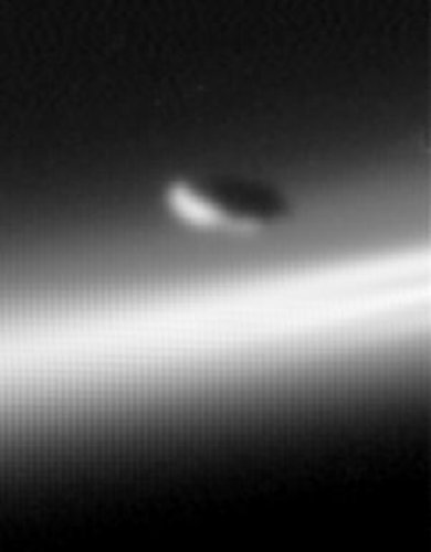 Shepherd moon Prometheus above Saturn's F ring
