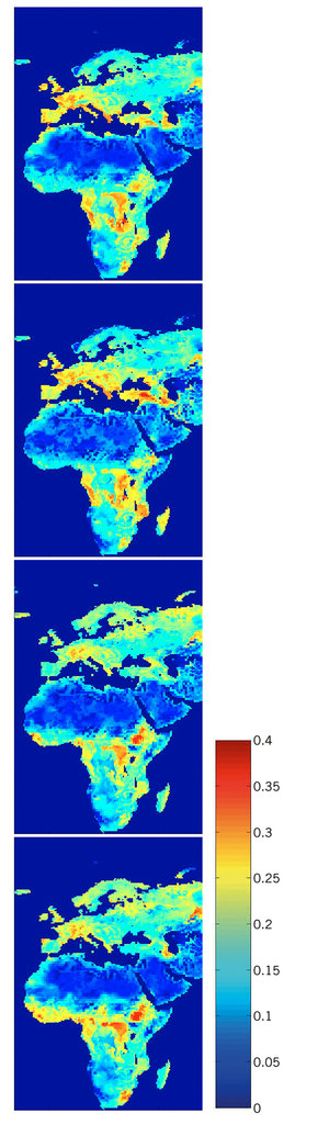Simulated seasonal soil moisture maps