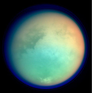 Titan in false colour, seen during close fly-by