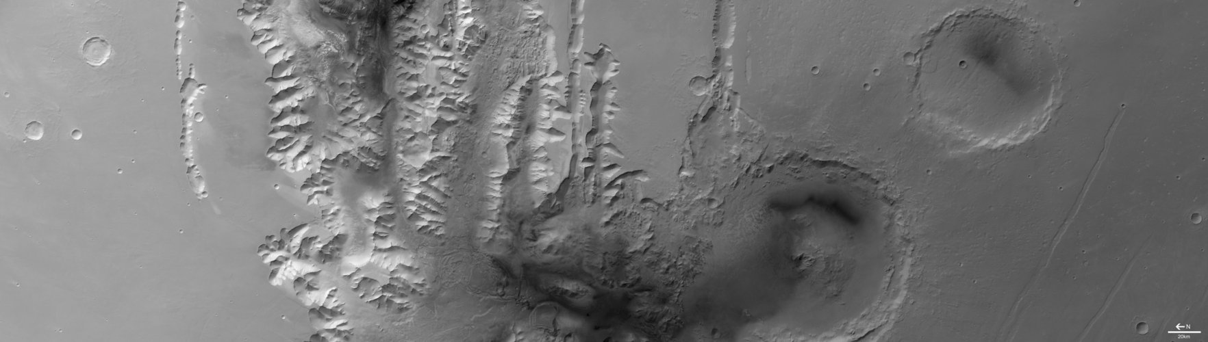Tithonium Chasma in black and white