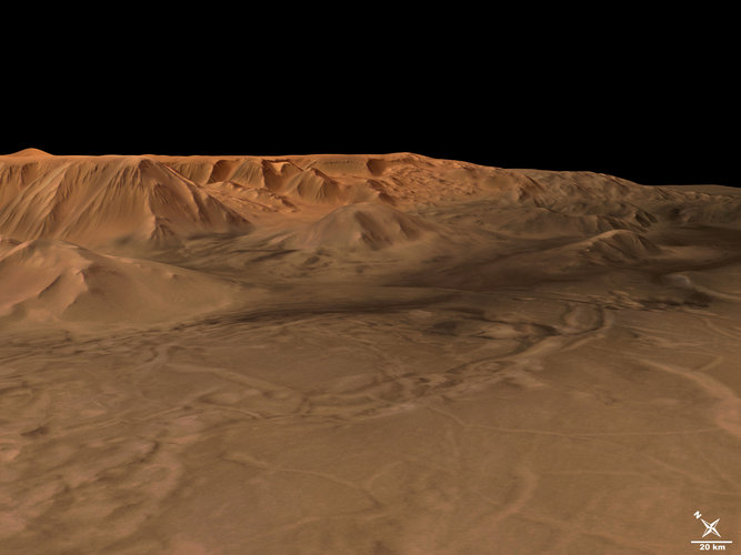 Tithonium Chasma in perspective, looking north-east