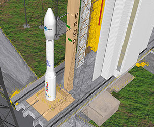 Artist's view of the Vega launcher on its launch pad