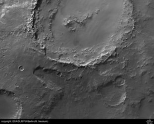 Close-up view of walls of Crater Hale
