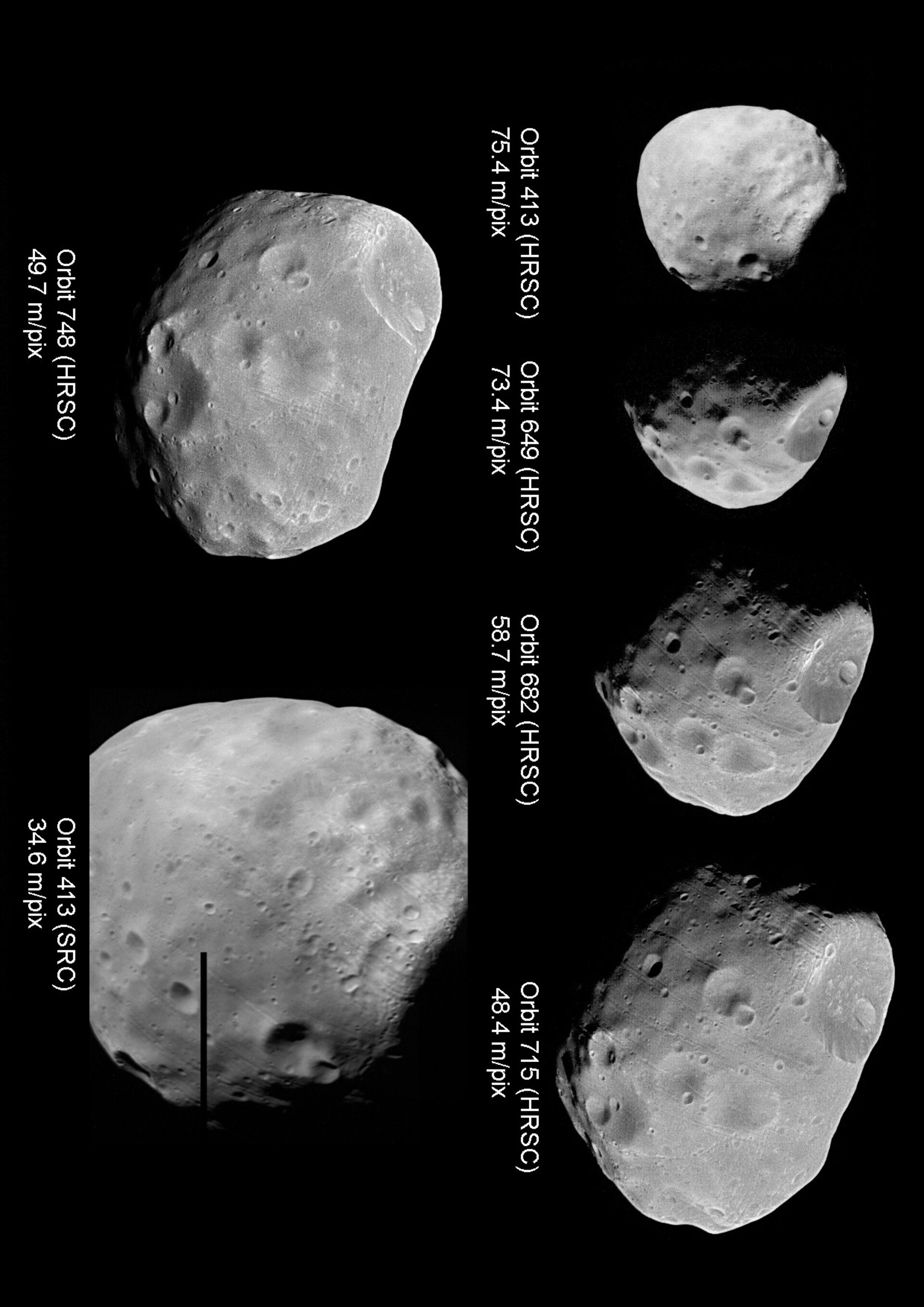 Collection of Phobos images from different orbit passes