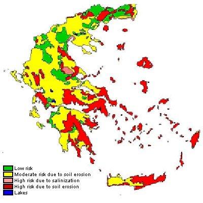 Desertification Risk Map Of Greece