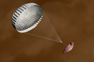 Huygens descending with parachute