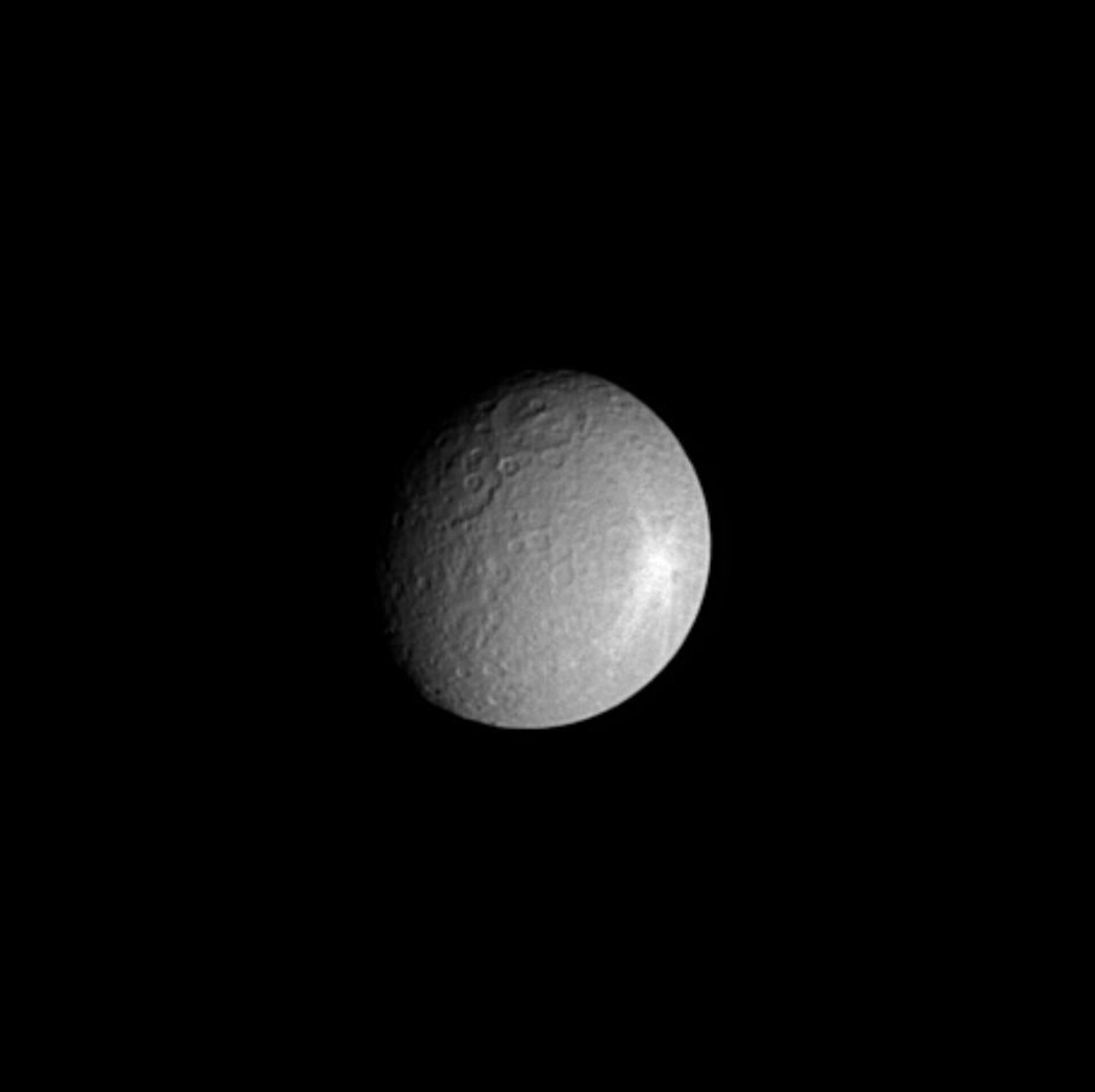 Impact crater on Saturn's moon Rhea