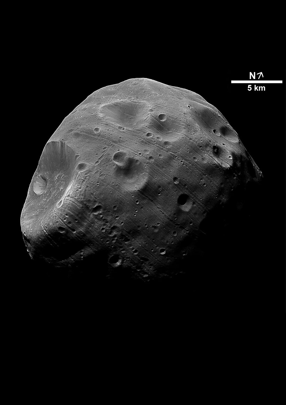Phobos in black and white, close-up