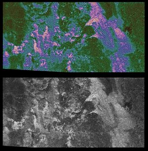 Radar images of Titan live and in colour
