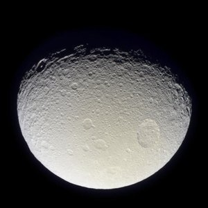 Saturn's moon Tethys battered and grooved