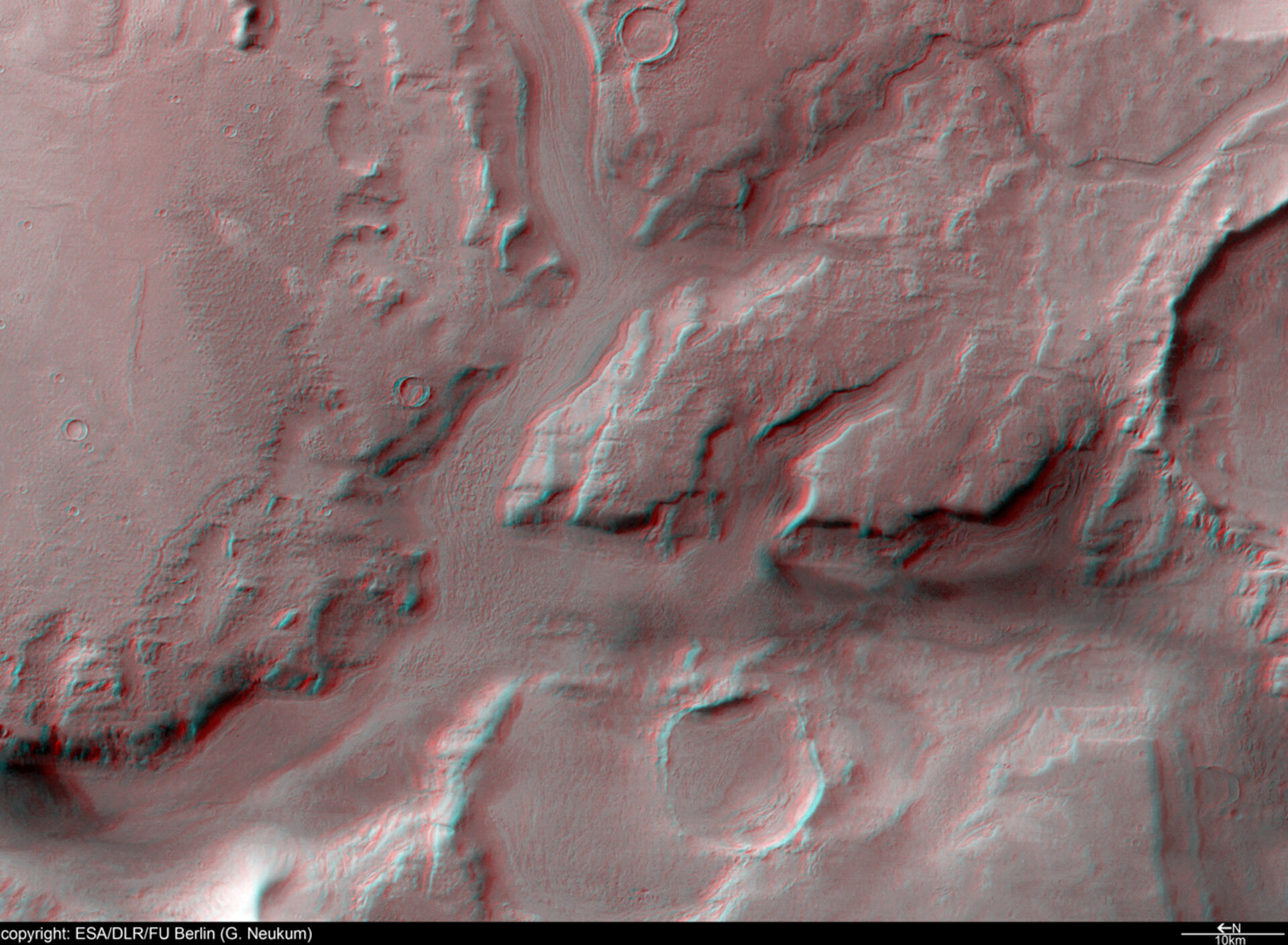 3D anaglyph of Reull Vallis