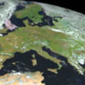 A virtually cloud-free Europe captured by MSG