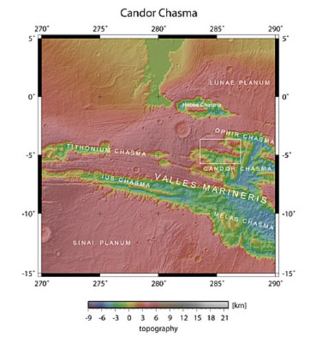 Map showing Candor Chasma in context