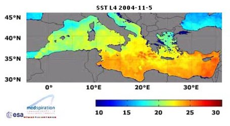 Mediterranean sea surface temperature map