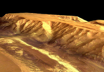 Perspective view of Candor Chasma, looking north-west