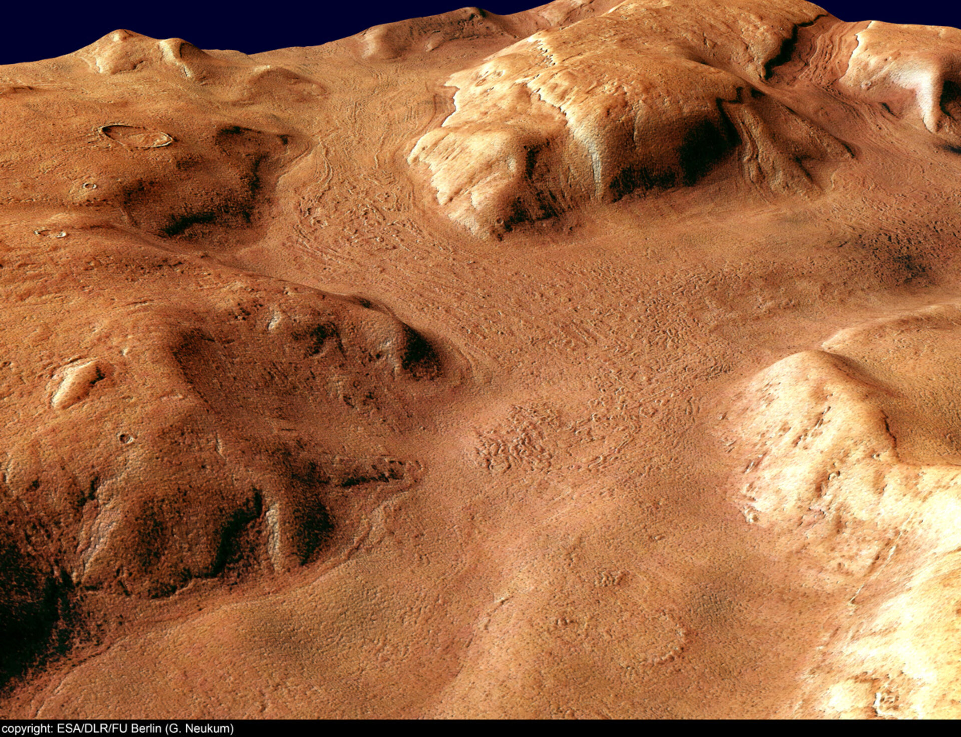 Perspective view of Reull Vallis, looking south-east
