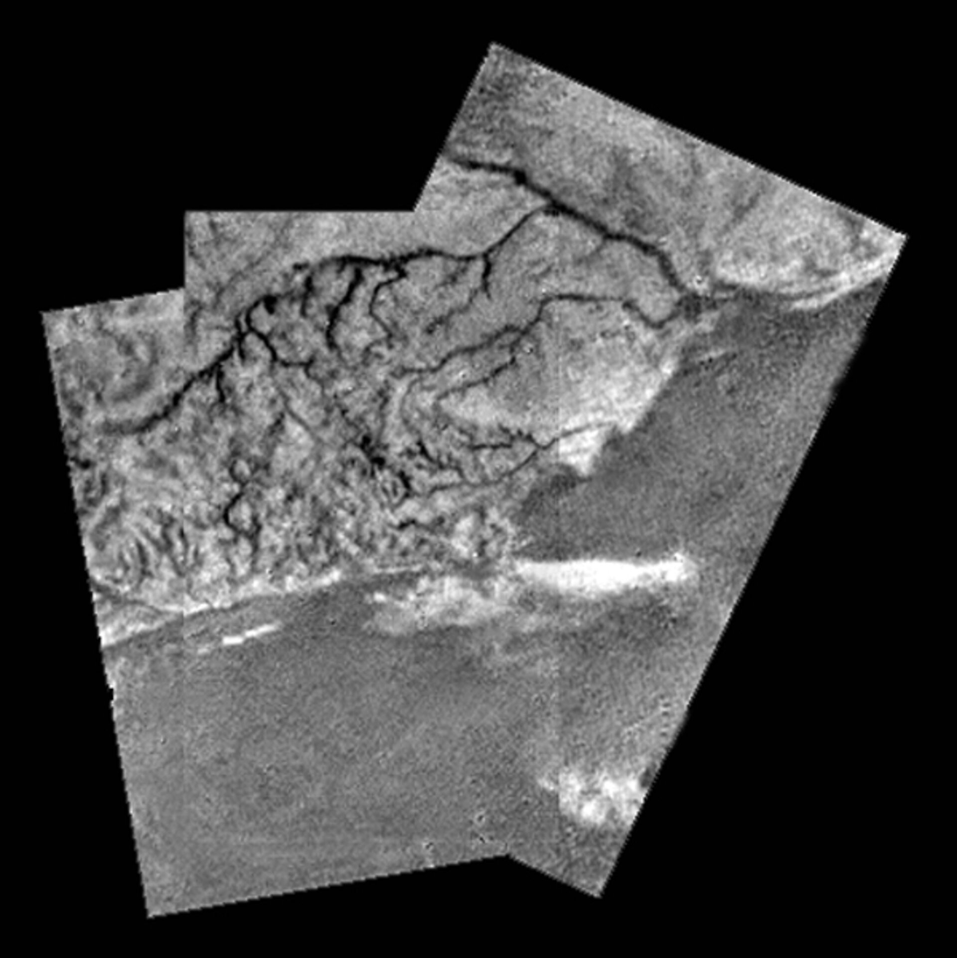 Mosaic of river channel and ridge area on Titan