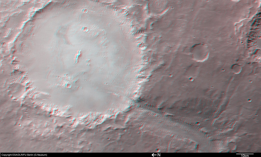 3D image of Crater Holden and Uzboi Vallis