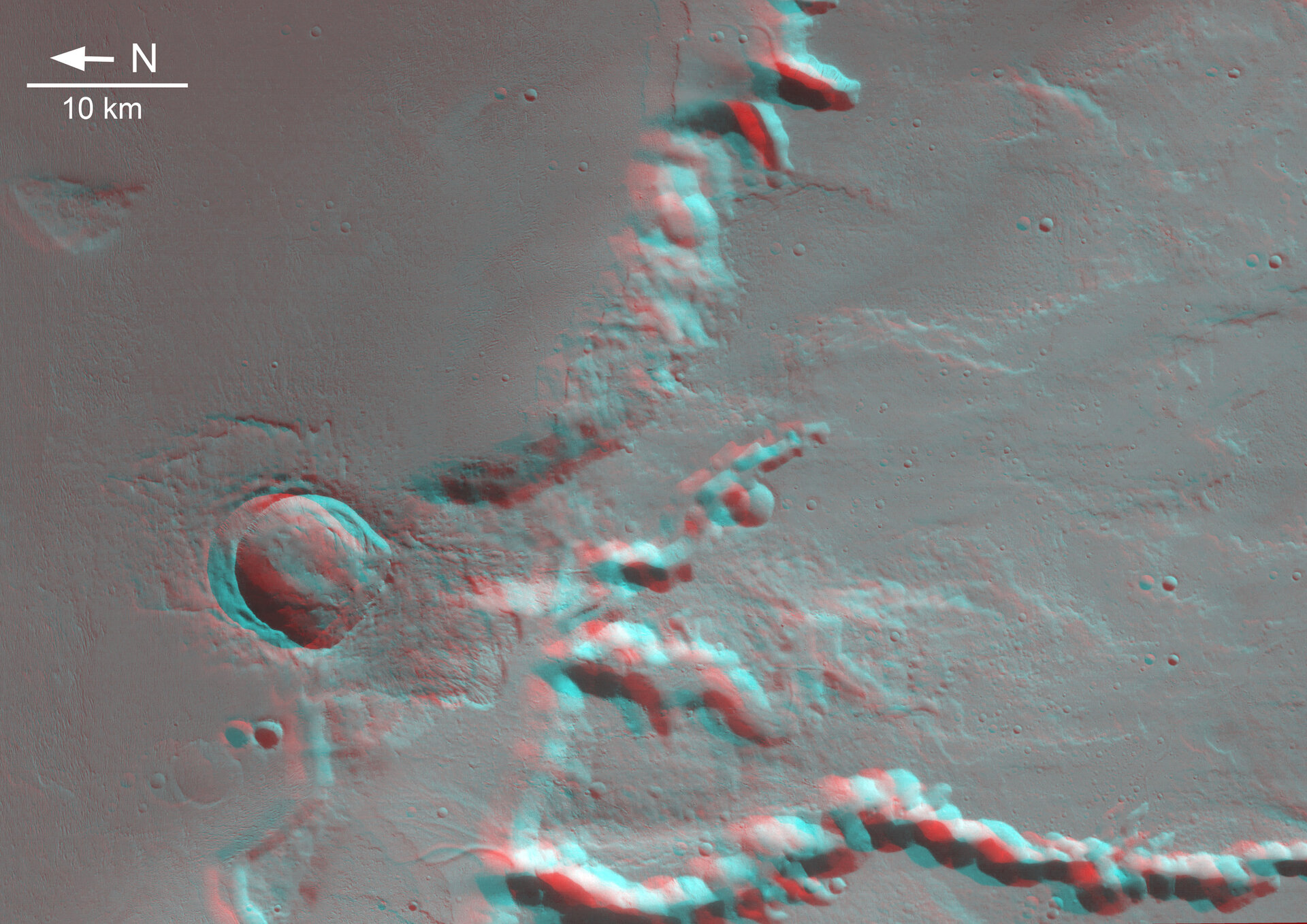 Anaglyph (3D) image of Medusa Fossae