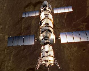 Artist's impression of a manned spaceship in orbit around Mars