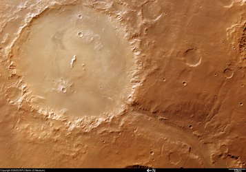 Colour image of Crater Holden and Uzboi Vallis