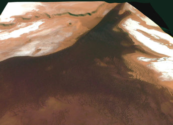 Fields of volcanic cones at Martian north pole