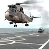 French Navy helicopter leaving the Jeanne d'Arc aircraft carrier