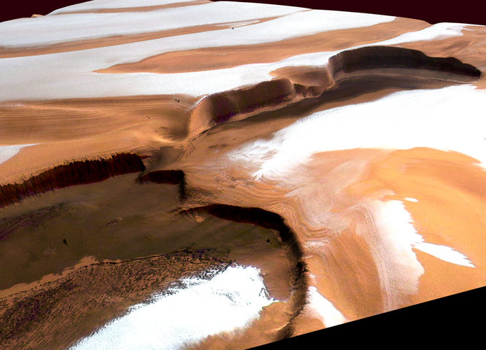 Ice and dust at Martian north pole