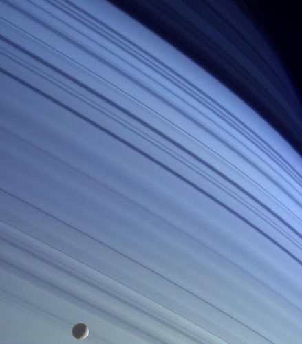 Mimas and blue Saturn