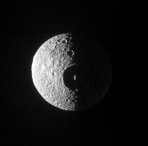 Mimas's Crater Herschel head on